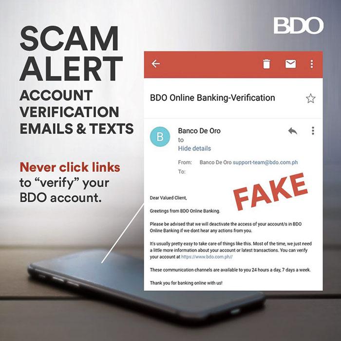 Bdo Reiterates Fight Against Account Verification Scam Bdo Unibank Inc
